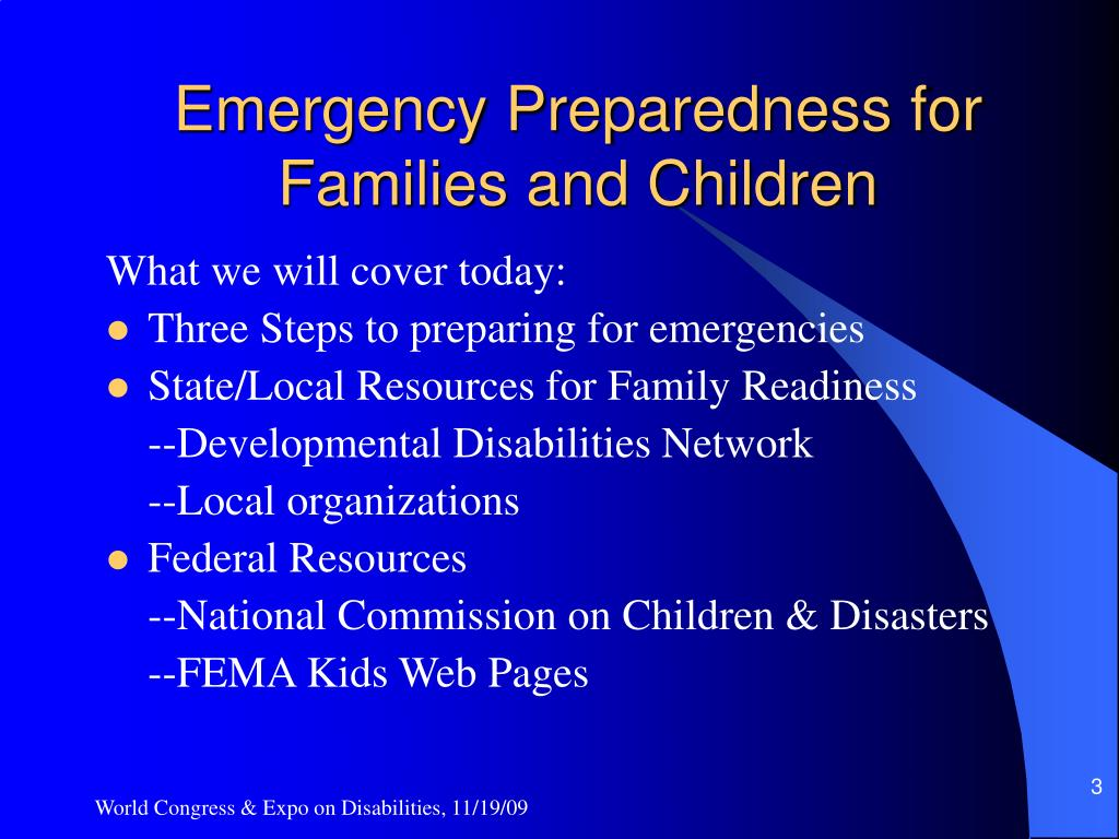 Emergency Preparedness for Families and Children