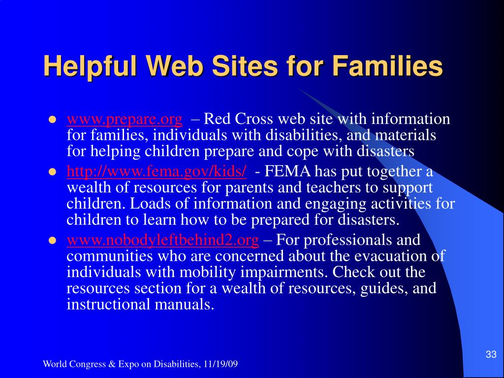 Helpful Web Sites for Families