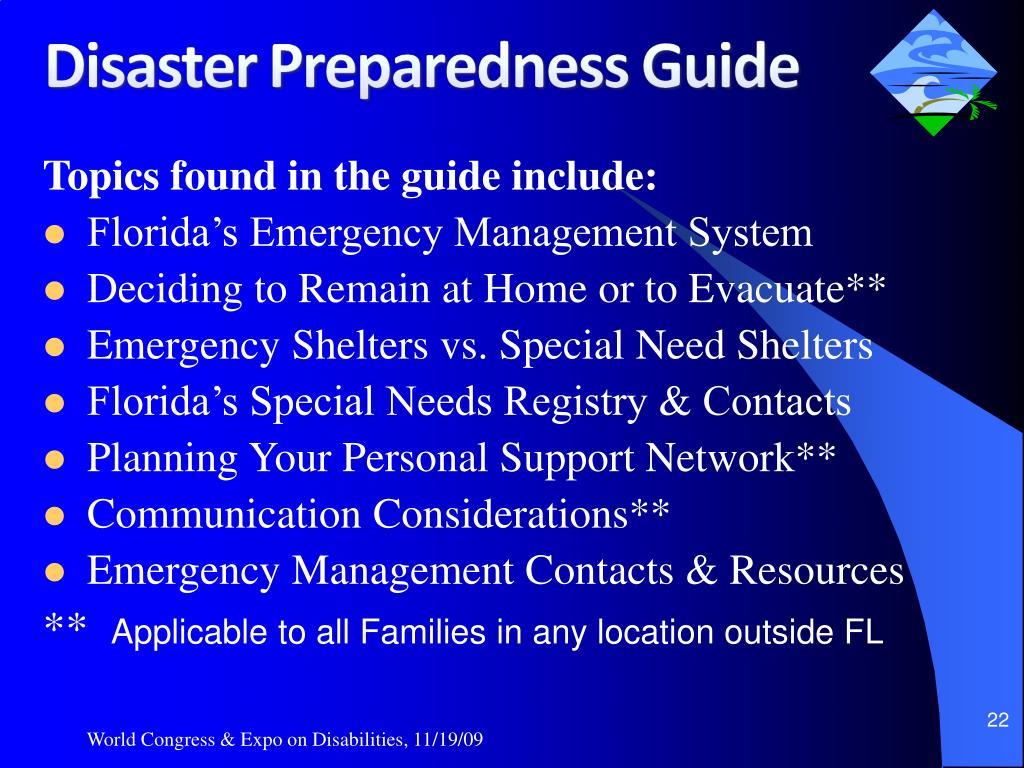 Topics found in the guide include: