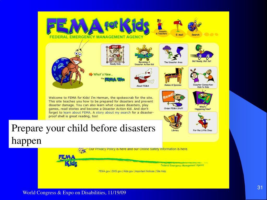 Prepare your child before
