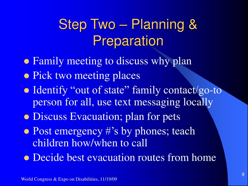 Step Two – Planning & Preparation