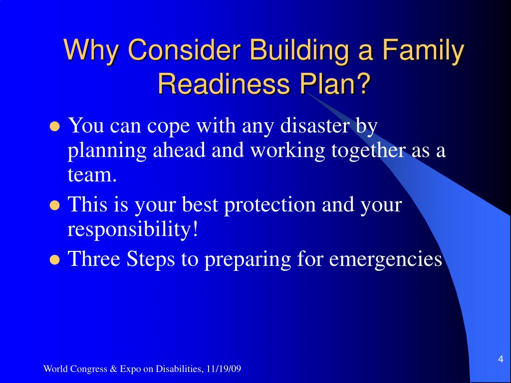 Why Consider Building a Family Readiness Plan?