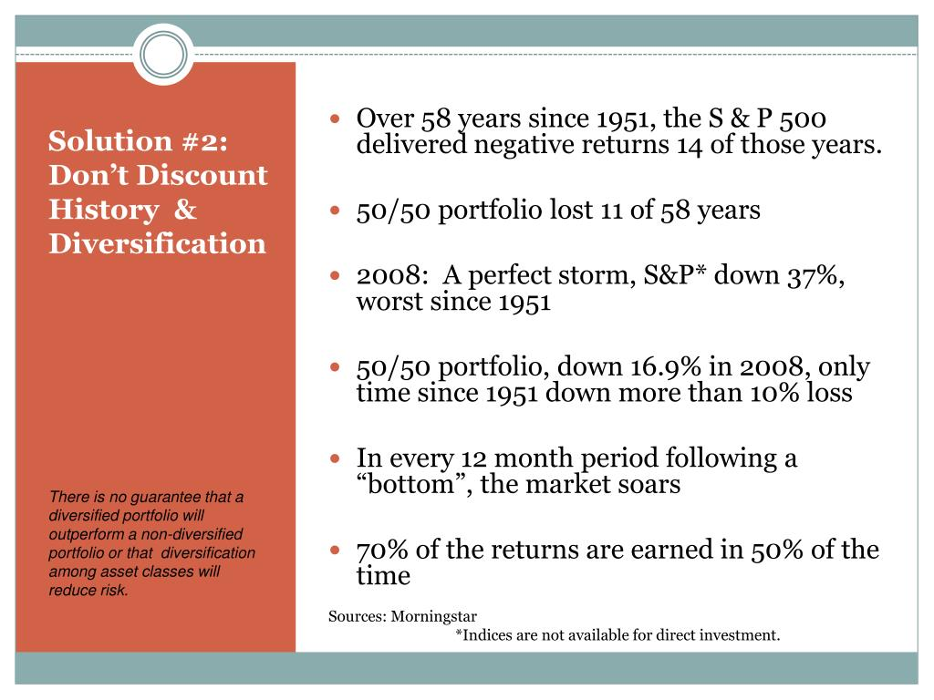 Over 58 years since 1951, the S & P 500 delivered negative returns 14 of those years.