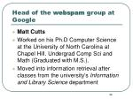 head of the webspam group at google