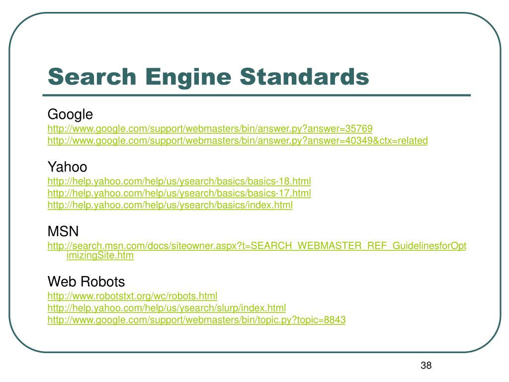 Search Engine Standards