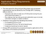 application filing requirements emergency situations