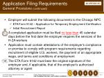 application filing requirements general provisions continued