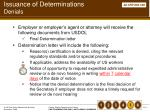 issuance of determinations denials