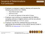 issuance of determinations full certification