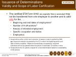 issuance of determinations validity and scope of labor certification