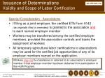 issuance of determinations validity and scope of labor certification114
