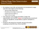 offered wage rate determination general provisions
