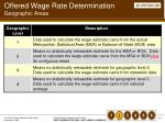 offered wage rate determination geographic areas
