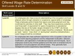 offered wage rate determination skill levels iii and iv