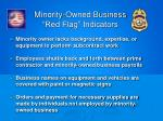 minority owned business red flag indicators