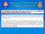 settlement for 11 75 m and compliance agreements