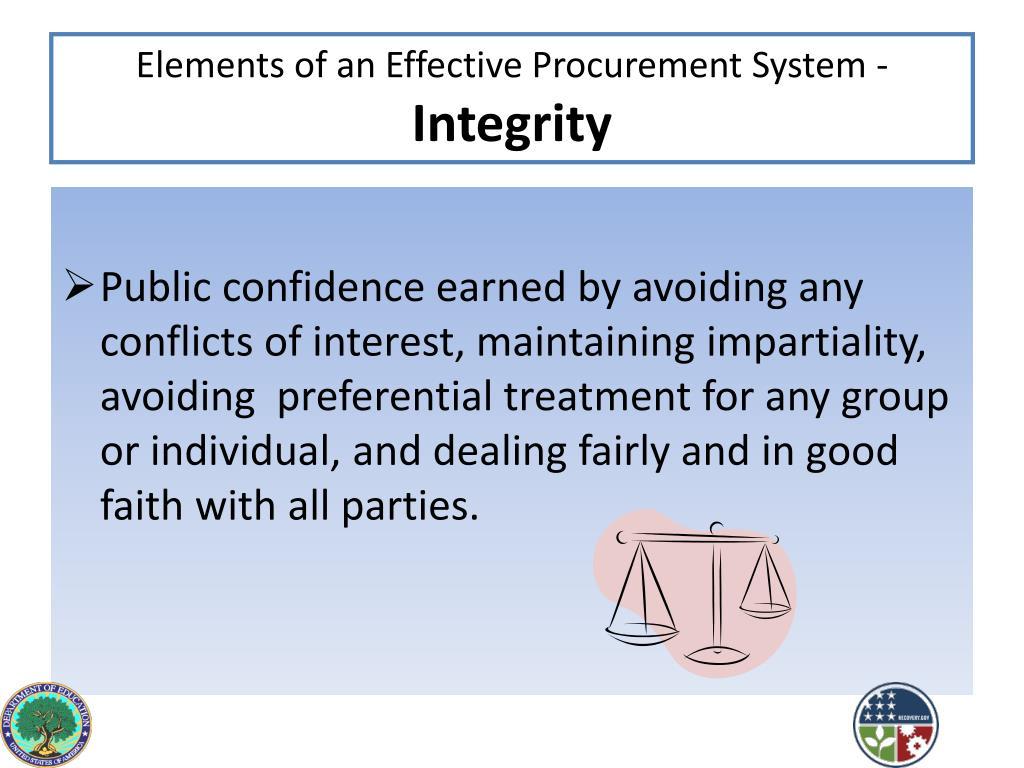Elements of an Effective Procurement System -