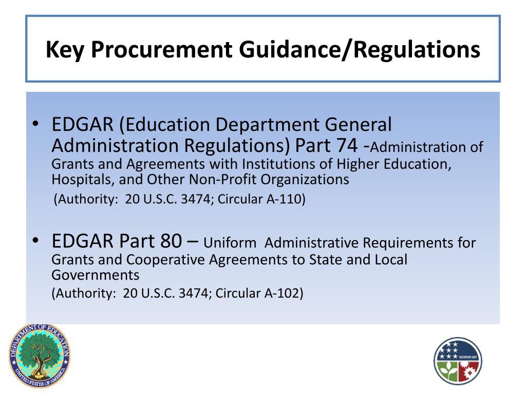 Key Procurement Guidance/Regulations