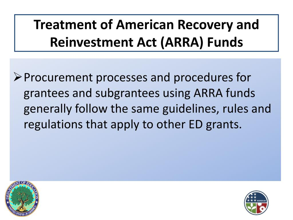 Treatment of American Recovery and Reinvestment Act (ARRA) Funds