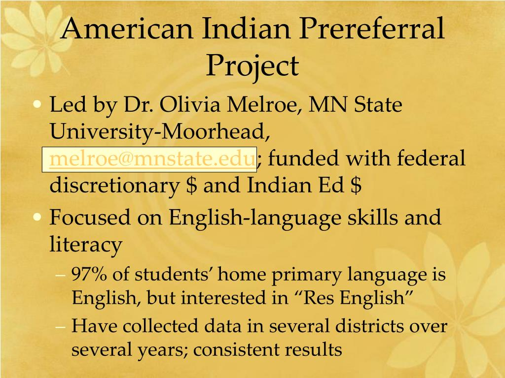American Indian Prereferral Project