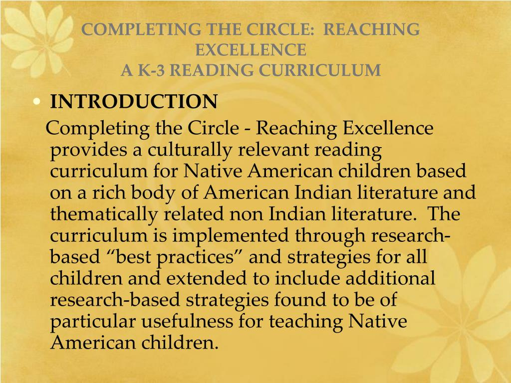 COMPLETING THE CIRCLE:  REACHING EXCELLENCE