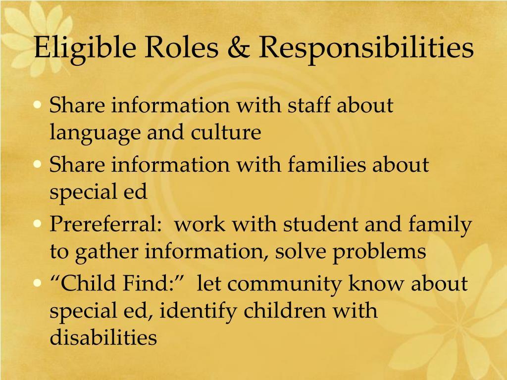 Eligible Roles & Responsibilities