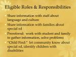 eligible roles responsibilities