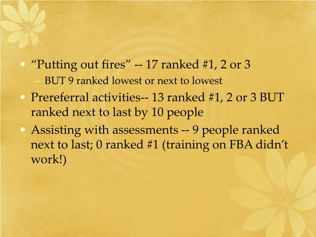 """""""Putting out fires"""" -- 17 ranked #1, 2 or 3"""