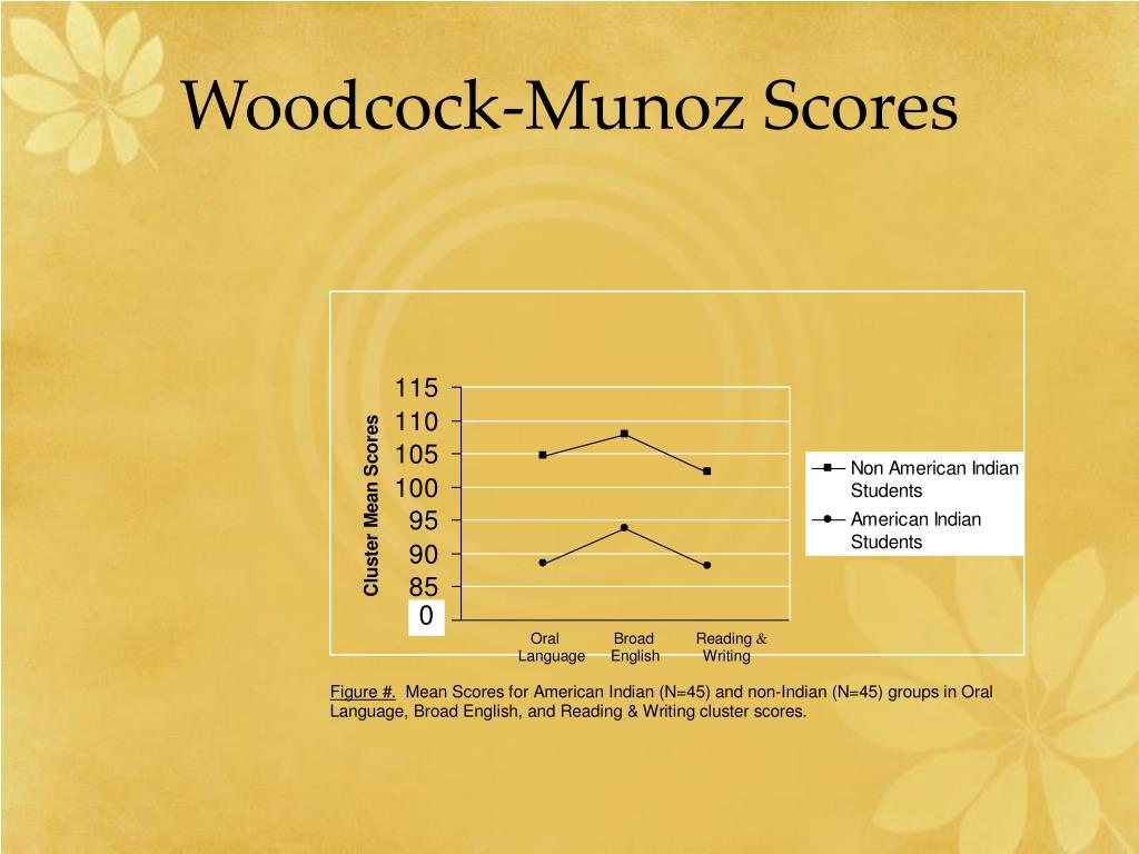 Woodcock-Munoz Scores
