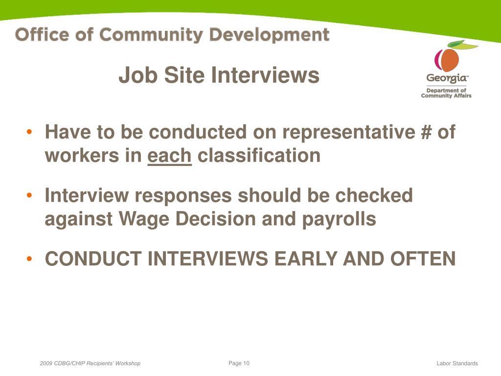 Job Site Interviews