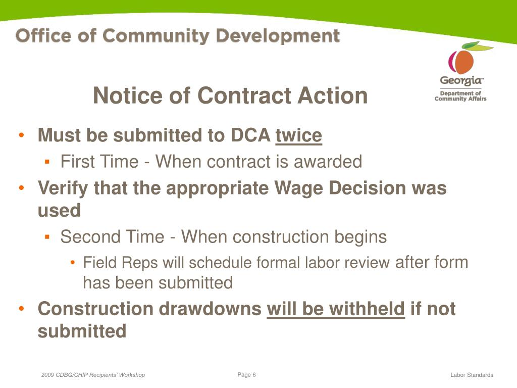 Notice of Contract Action