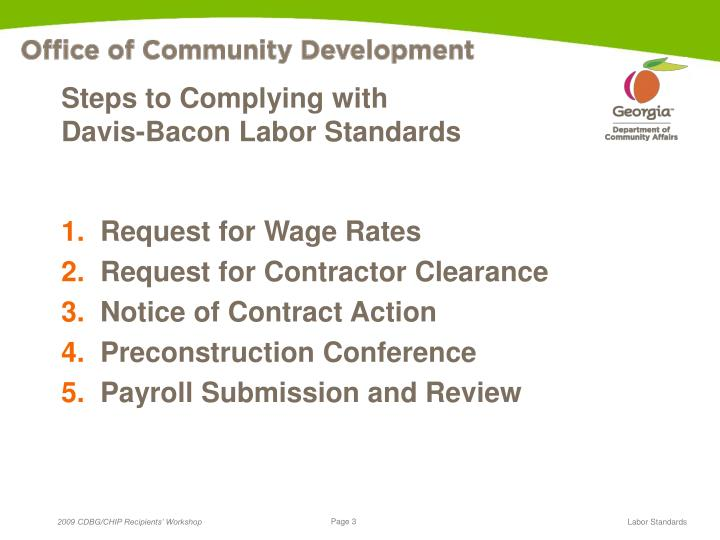 Steps to complying with davis bacon labor standards