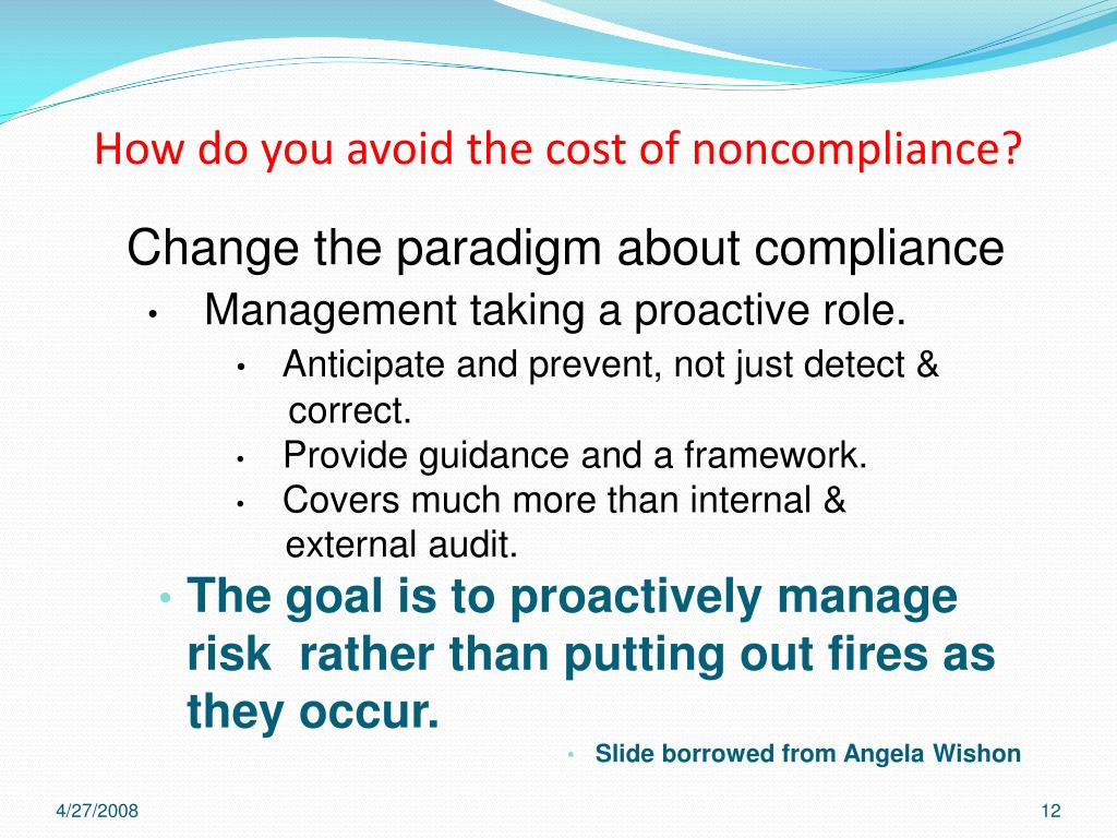How do you avoid the cost of noncompliance?