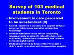 survey of 103 medical students in toronto17