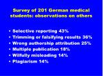 survey of 201 german medical students observations on others