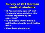 survey of 201 german medical students