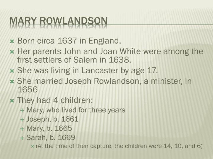 mary rowlandson a narrative of the captivity
