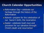 church calendar opportunities