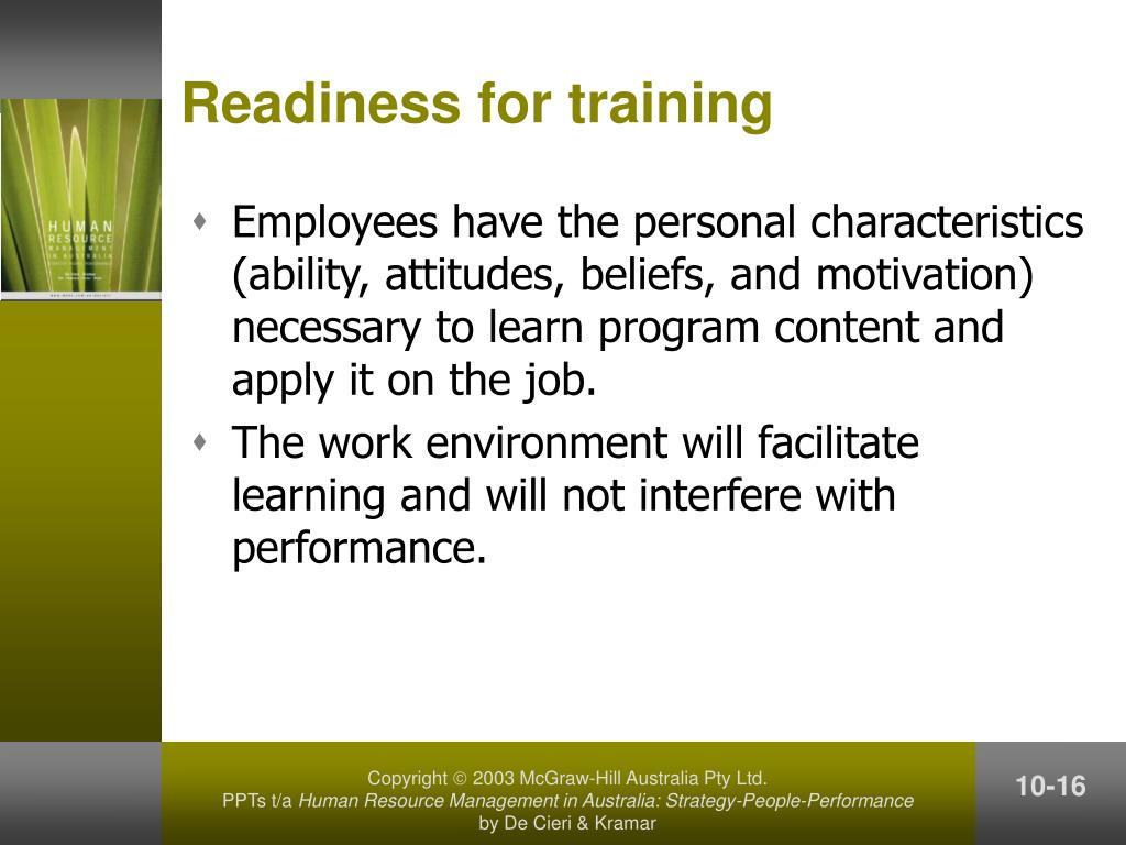 Readiness for training