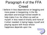 paragraph 4 of the ffa creed