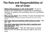 the role and responsibilities of the of chair