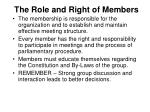 the role and right of members