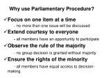 why use parliamentary procedure