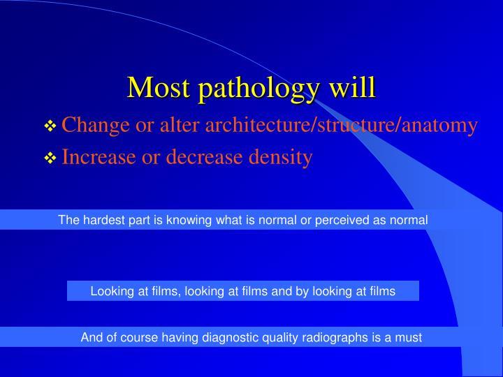 Most pathology will