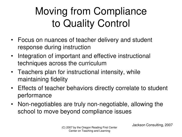 moving from compliance to quality control n.