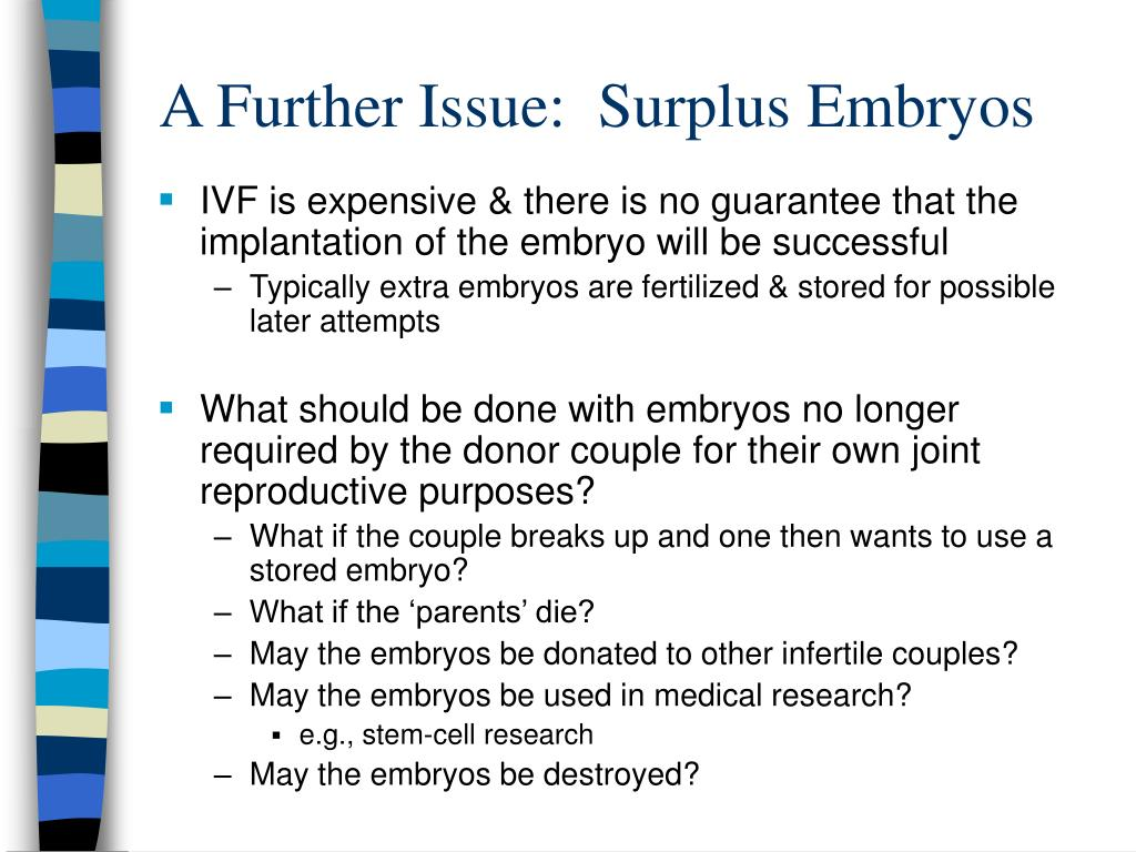 A Further Issue:  Surplus Embryos
