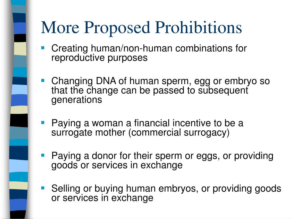 More Proposed Prohibitions
