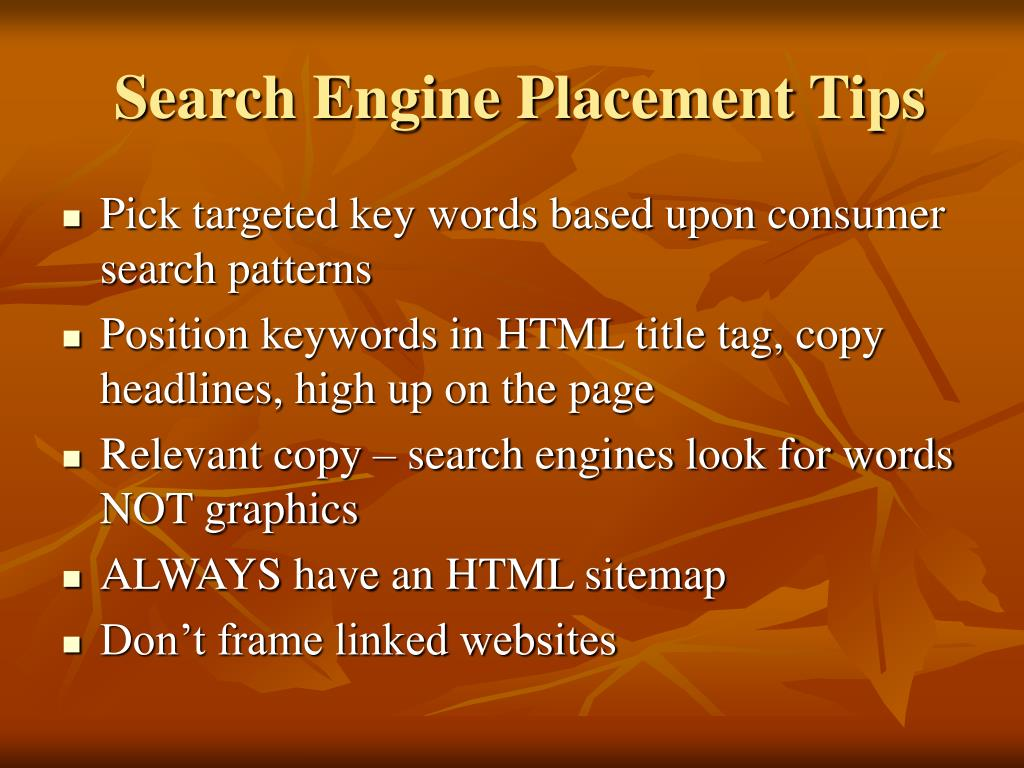 Search Engine Placement Tips