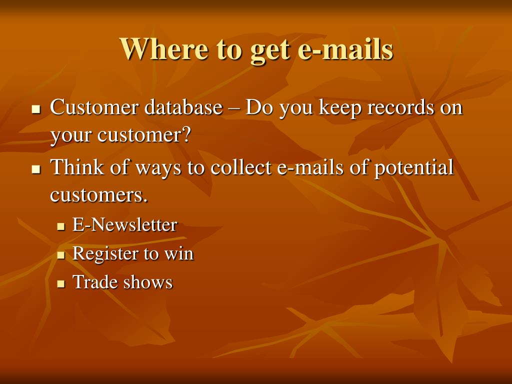 Where to get e-mails