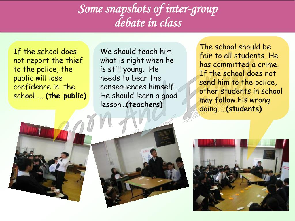 Some snapshots of inter-group